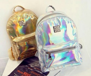 backpack, bags, and holographic image
