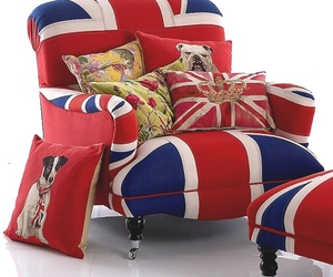 chair, dog, and union jack image