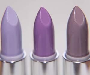 lipstick, purple, and makeup image