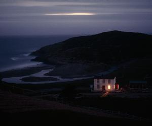 house, sea, and dark image
