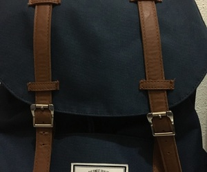 backpack, blue, and brown image