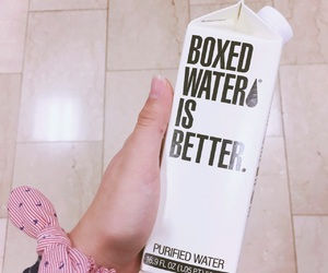 boxed water, hand, and wh image