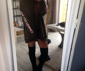 dress, streetwear, and thigh boots image