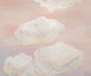 clouds, pink, and art image
