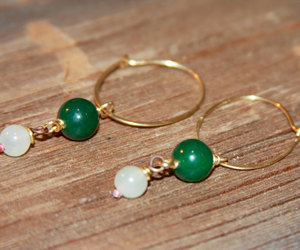 green jewelry, wire wrapped earring, and green drop earrings image