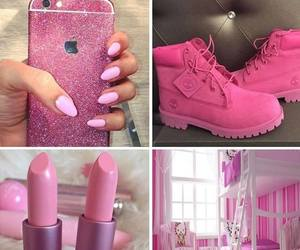 girly things, pink, and pink timberlands image