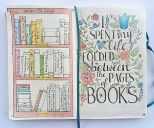 books, notebook, and calligraphy image