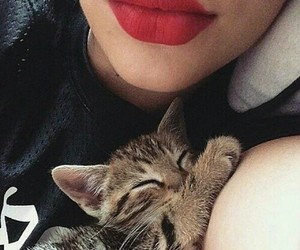 cat, lips, and red image