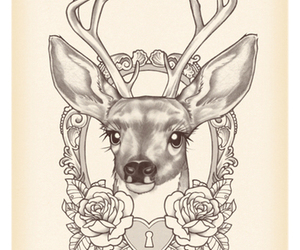 deer, tattoo, and art image