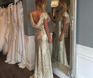 long prom dress, mermaid prom dress, and sequined prom dress image