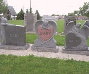 baby, pale, and cemetery image