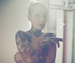 cigarette, girl, and tattoo image