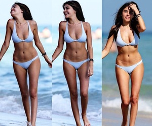 beach, brunette, and selena gomez image