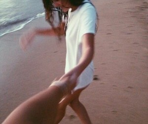 beach, couple, and be+happy image