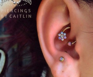 ear, flower, and piercing image