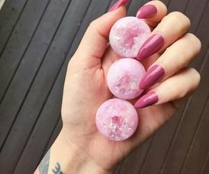 pink, nails, and crystal image