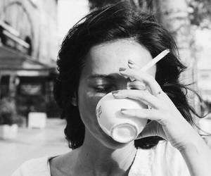 coffee, cigarette, and woman image