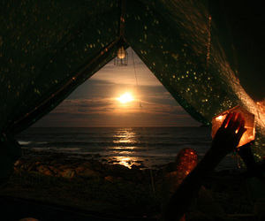 camping, sky, and sun image