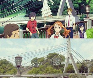 anime, bridge, and landscape image