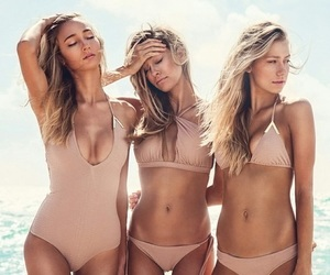 bathing suit, fitness, and friendship image