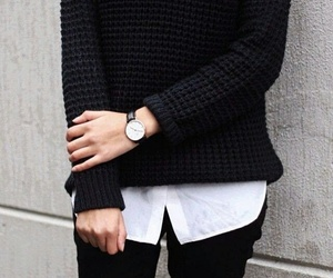 black, outfit, and watch image