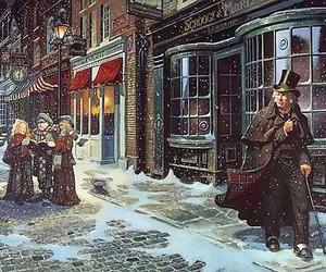 christmas, snow, and a christmas carol image