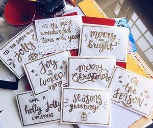 cards, christmas, and envelopes image