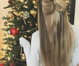 hair, hairstyle, and christmas image