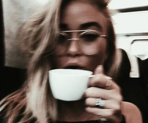 girl, coffee, and glasses image
