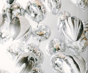 balloons, party, and silver image