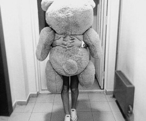 girl, bear, and teddy image