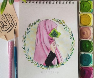 art, hijab, and color image