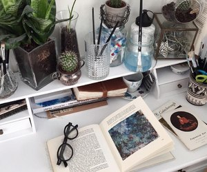 book, art, and plants image