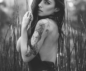 b&w, fit, and tattoo image