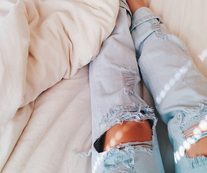 jeans, bed, and style image