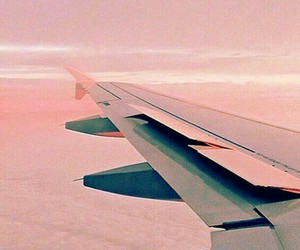 plane, travel, and pink image