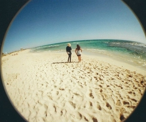 girl, beach, and fisheye image