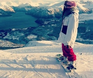snow, girl, and snowboard image