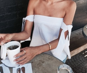 coffee, girl, and shirt image