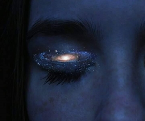 girl, eyes, and galaxy image