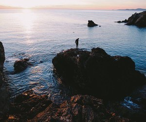 hipster, sea, and alone image
