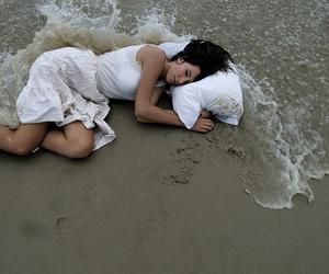 beach, girl, and sleep image
