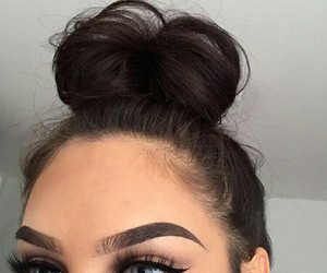 makeup, eyes, and hair image