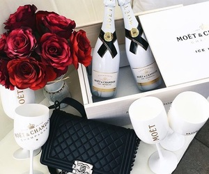 rose, luxury, and champagne image
