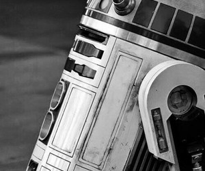 r2d2, star wars, and black and white image