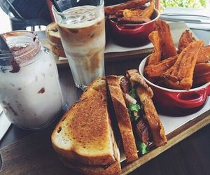 food, sandwich, and coffee image