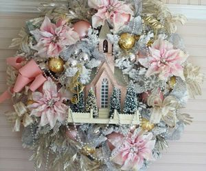 christmas, pink, and flowers image