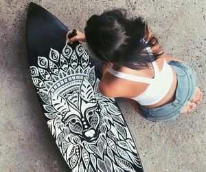 girl, summer, and surfboard image