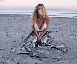 beach, blonde, and sea image