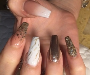 brown, glitter, and nail image